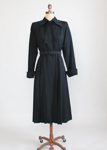 Vintage 1940s Black Wool Gabardine Princess Trench Coat
