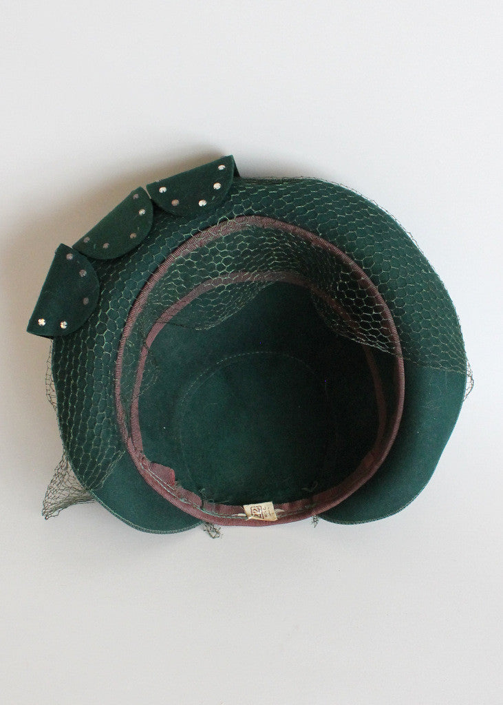 Vintage 1940s Green Rhinestone Loops Veiled Hat