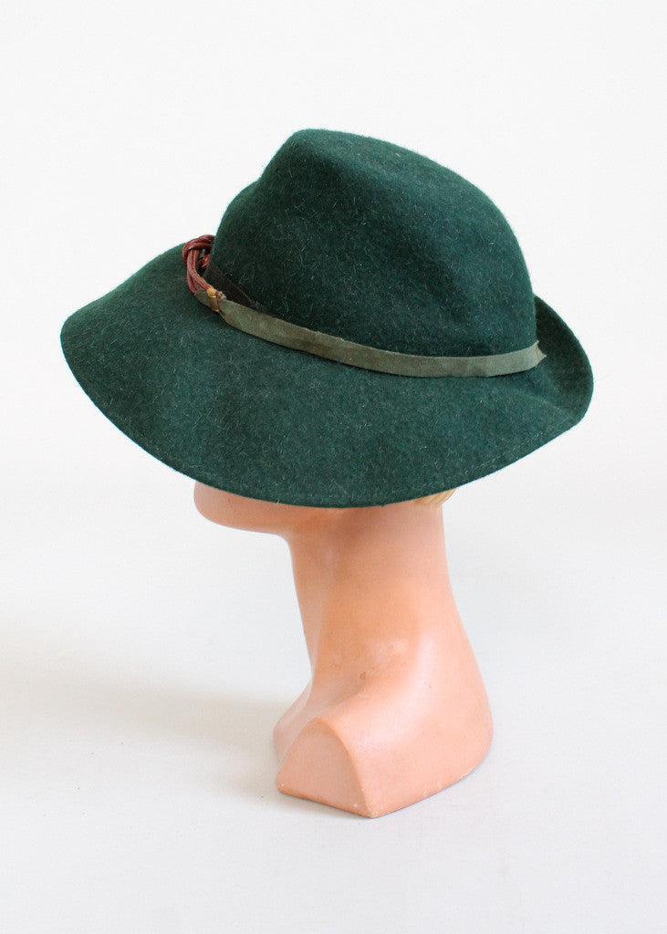 Vintage 1940s Green Wool Fedora Hat
