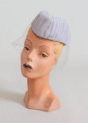 Vintage 1940s Grey Military Style Veiled Tilt Hat