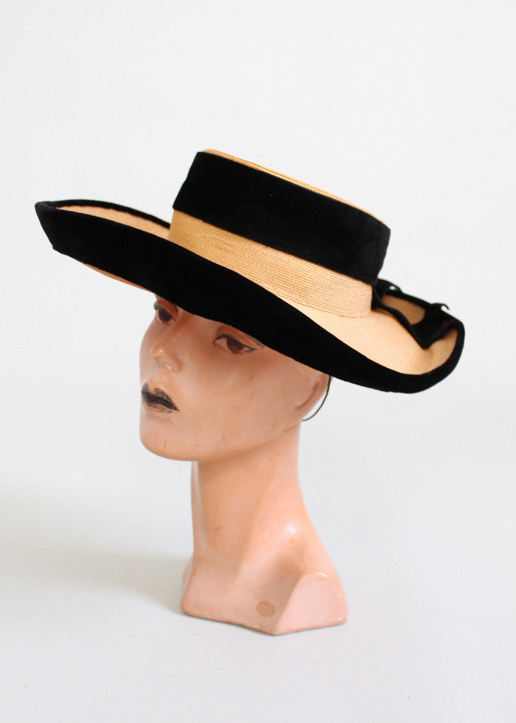 Vintage 1940s Jay Thorpe Wide Brim Straw Hat