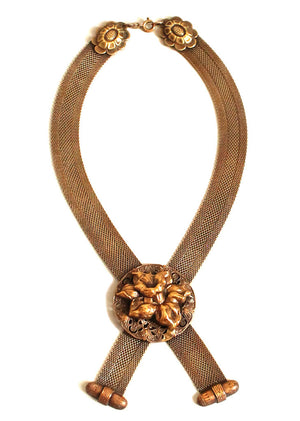 Vintage 1940s Karu Brass Flower and Mesh Statement Necklace