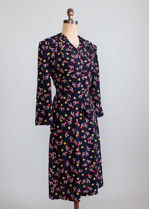 Vintage 1940s Lucky Girl Novelty Print Rayon Dress Suit