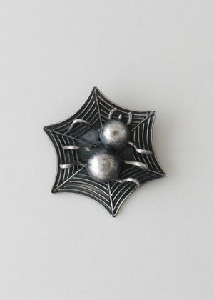 Vintage 1930s Mexican Silver Spider and Web Brooch