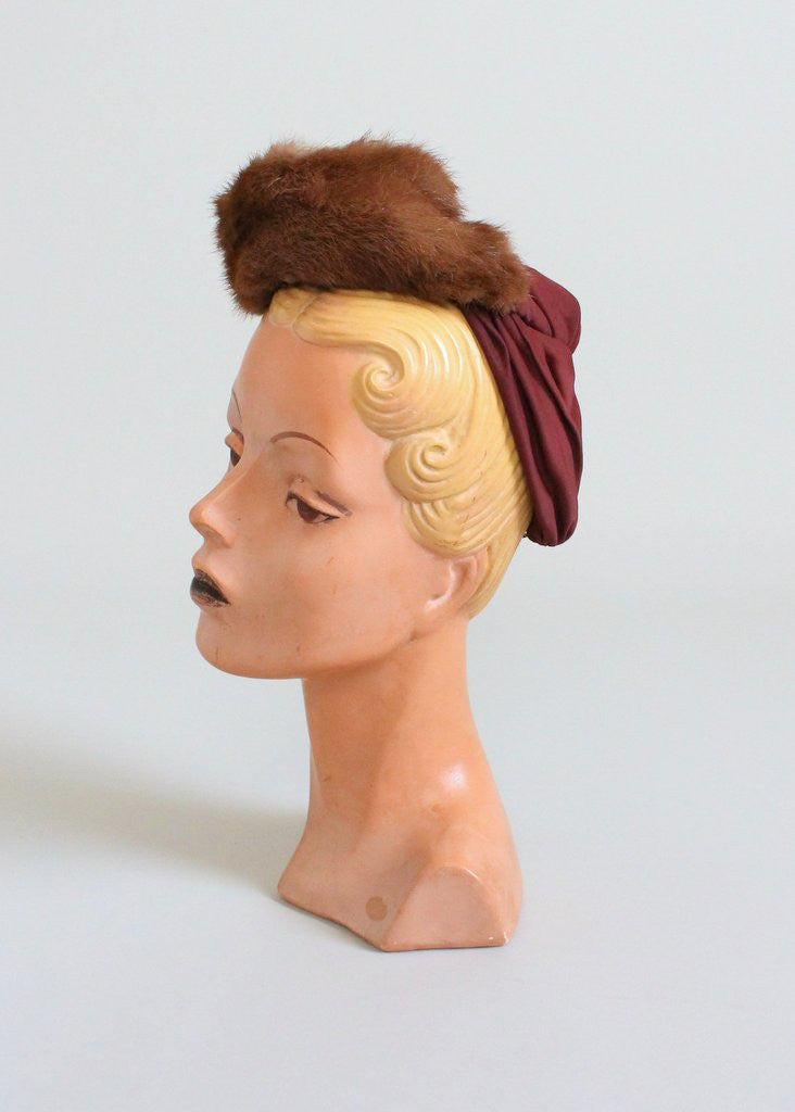 Vintage 1940s Mink and Rayon Tilt Hat