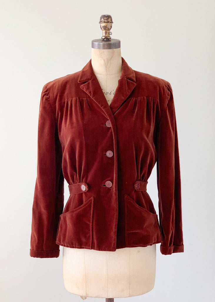 Vintage Early 1940s Molyneux Copy Velvet Jacket
