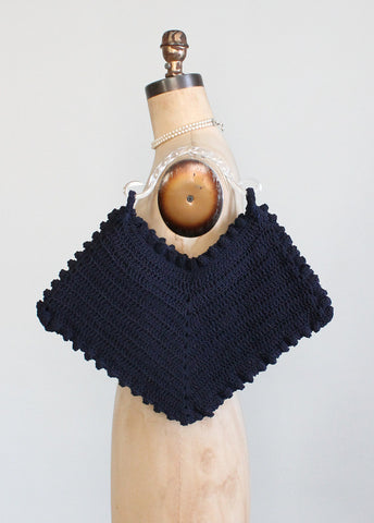 Vintage 1940s Navy Crochet Corde Bag with Lucite Handle