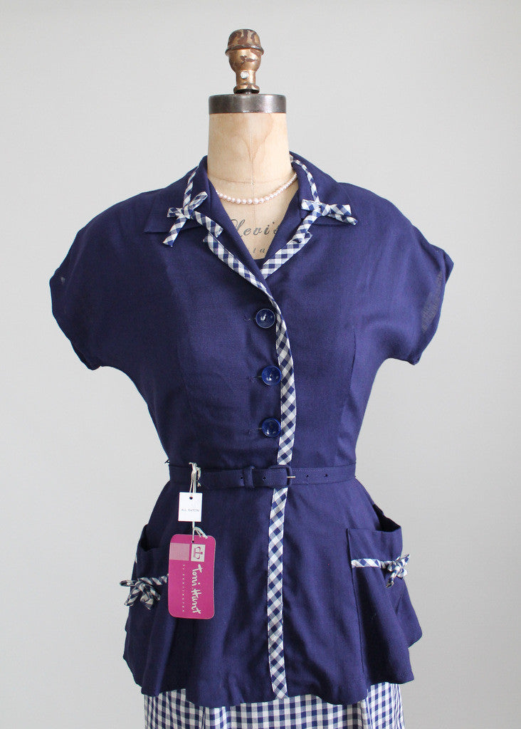 Vintage 1950s Navy and White Gingham Sundress and Peplum Jacket