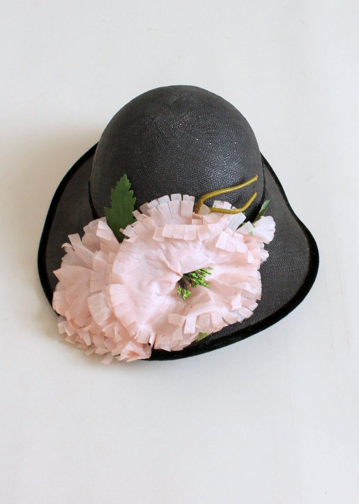 Vintage 1940s Peonies and Navy Straw Hat