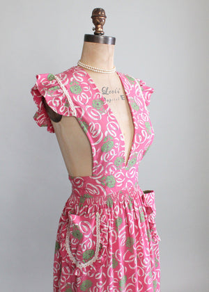 Vintage Late 1930s Flowers and Ribbons Pinafore Dress