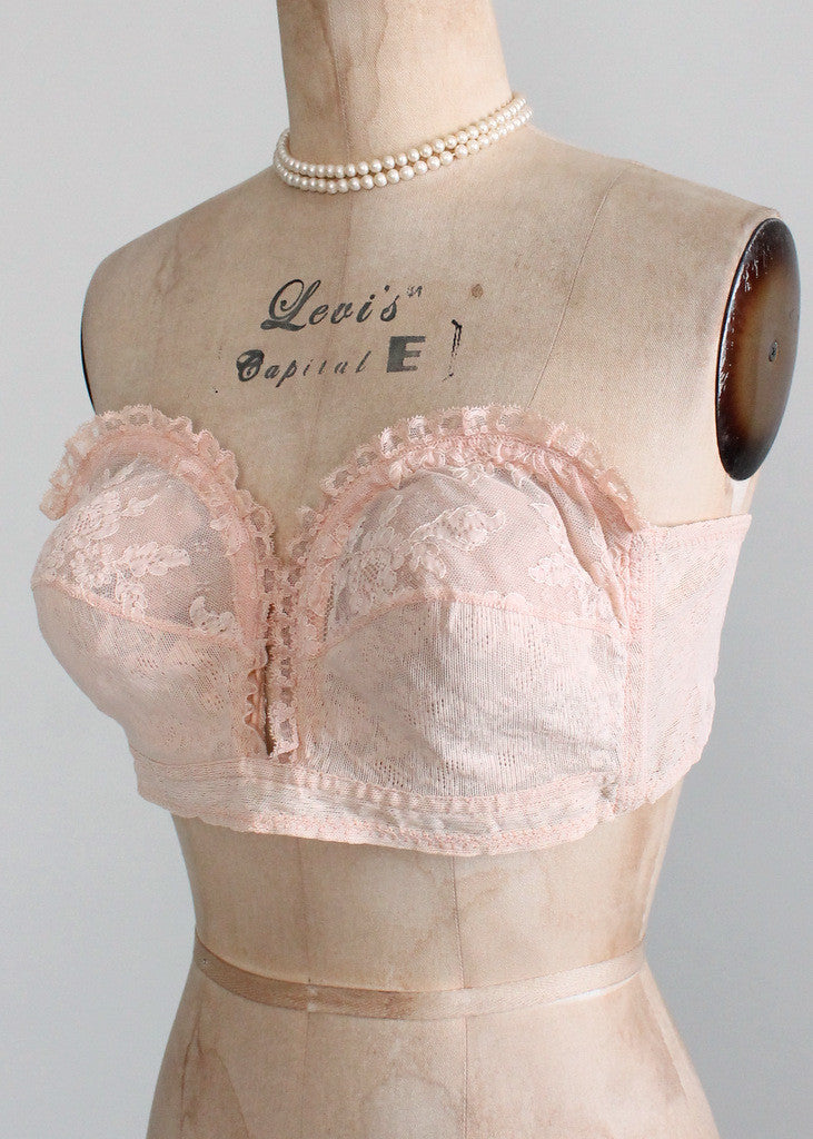 Vintage 1950s Pink Strapless Lace Overwire Bra Raleigh