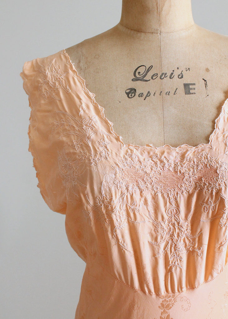 Vintage 1930s Embroidered Peach Silk Gown