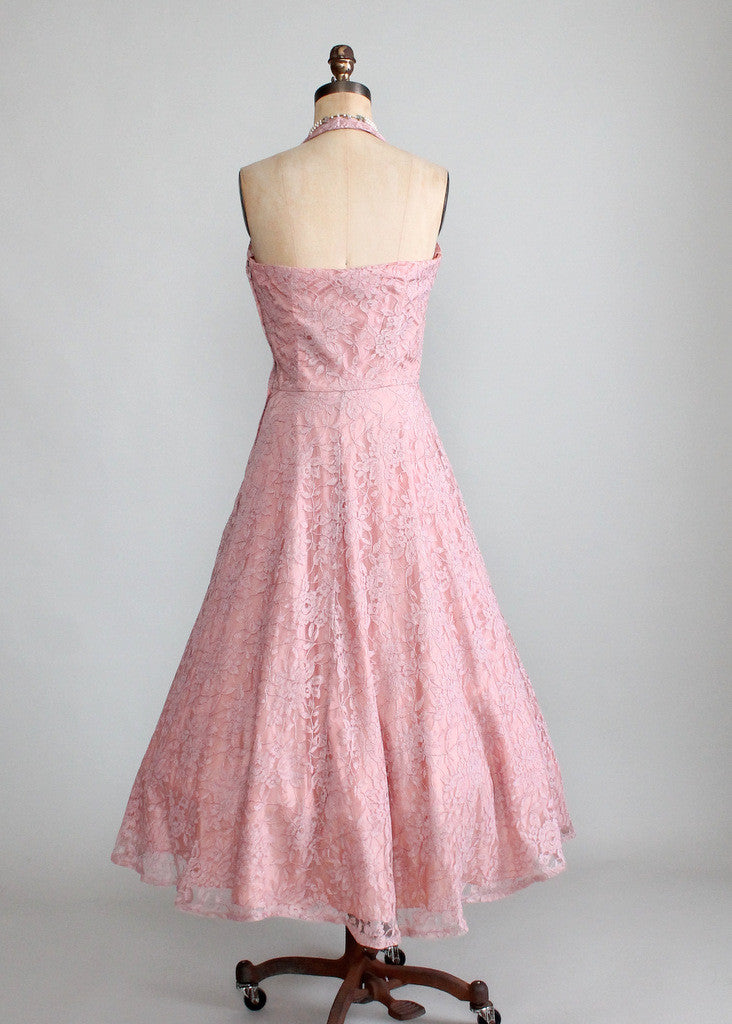Vintage Late 1940s Lace Halter Party Dress