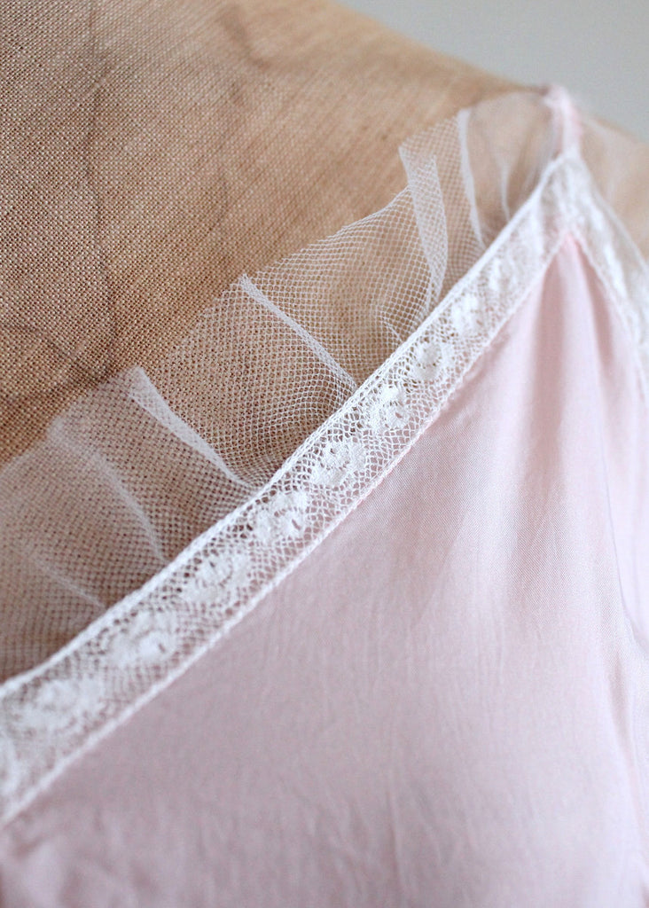 Vintage 1940s Pale Pink Rayon Nightgown with White Mesh Trim