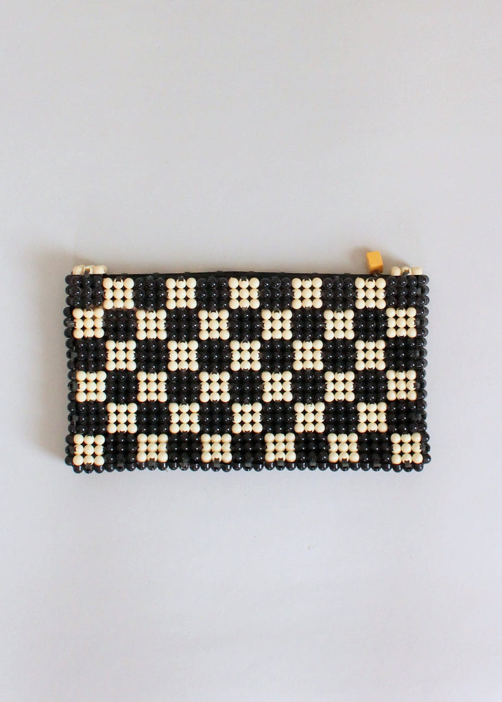 Vintage 1940s Plastic Checker Board Clutch Purse