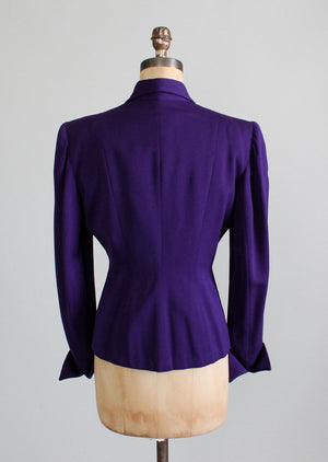 Vintage 1940s Purple Wasp Waist Jacket