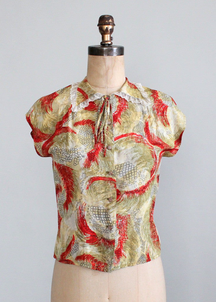 Vintage 1940s Abstract Print Rayon Blouse