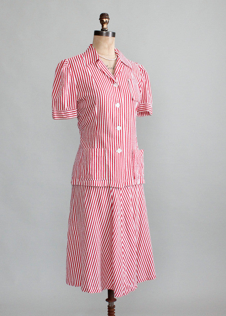 Vintage Early 1940s Red and White Seersucker Summer Suit