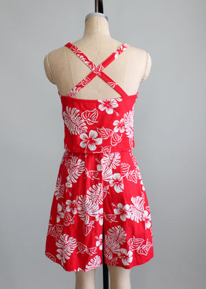 Vintage 1940s Red and White Tropical Print Playsuit Set