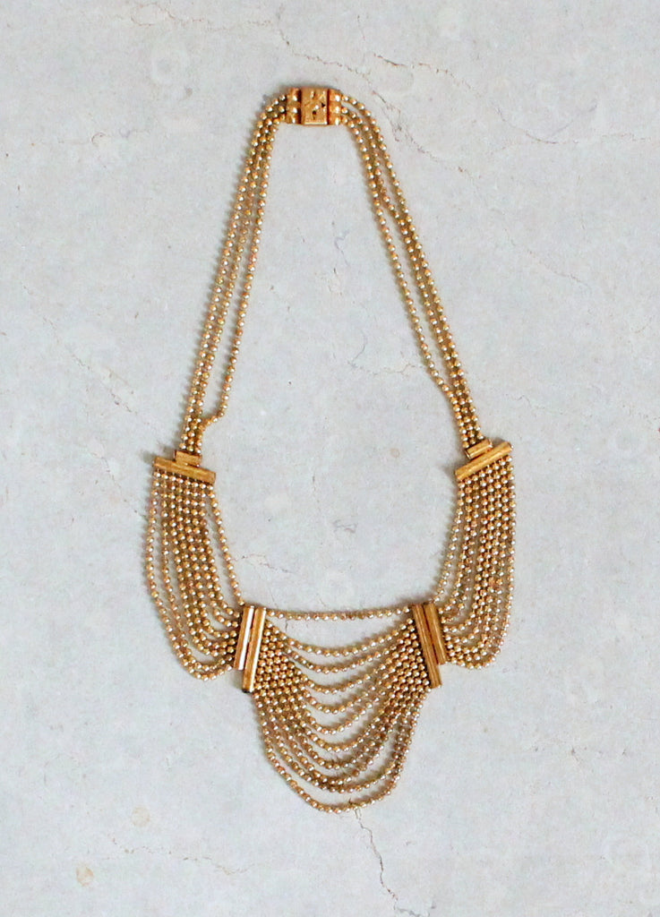 Vintage 1940s Scalloped Brass Chain Necklace