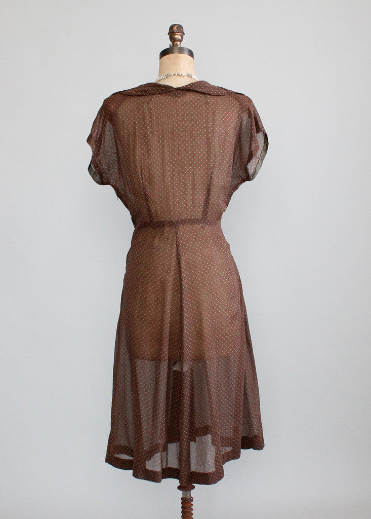 Vintage Late 1940s Sheer Brown and Green Dots Dress