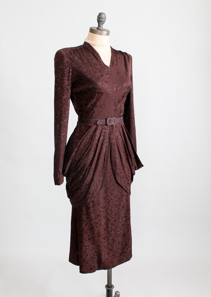Vintage 1940s Noir Rayon Drape Dress