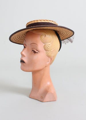 Vintage 1940s Lady Calvert Straw Boater Hat