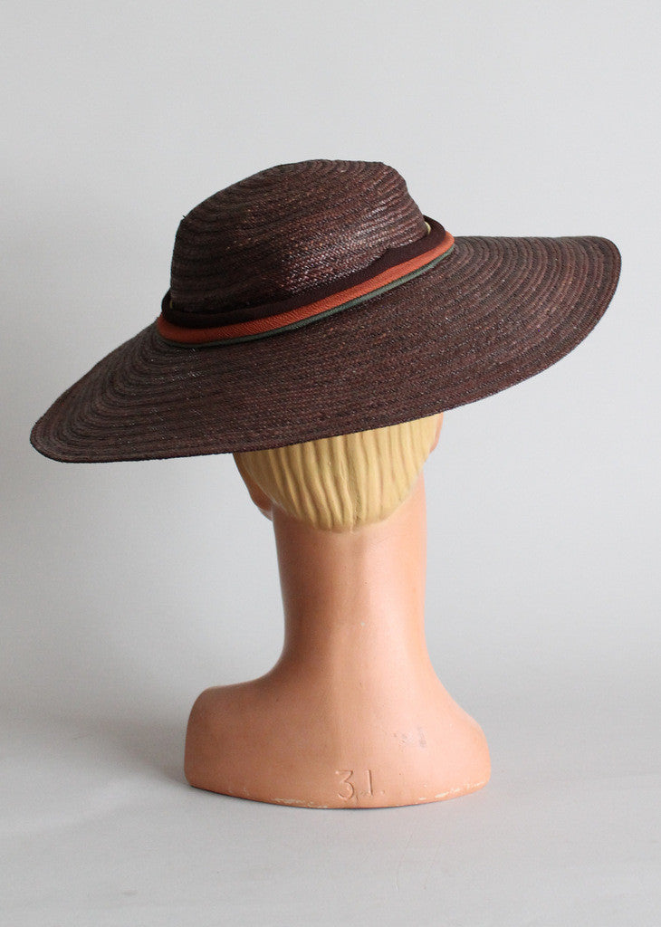 Vintage 1940s Straw Floppy Hat with Crepe Bow