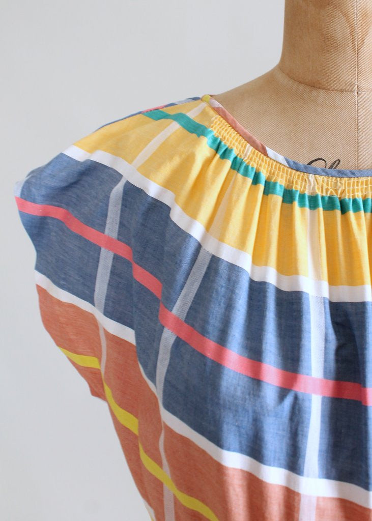Vintage 1940s Stripes and Plaids Primary Color Dress