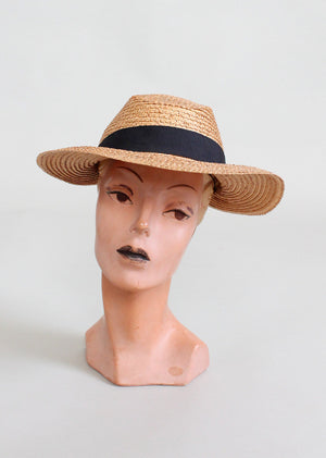 Vintage Early 1940s Summer Weekend Straw Hat