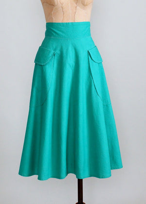 Vintage Early 1950s Teal Cotton Skirt with Pockets