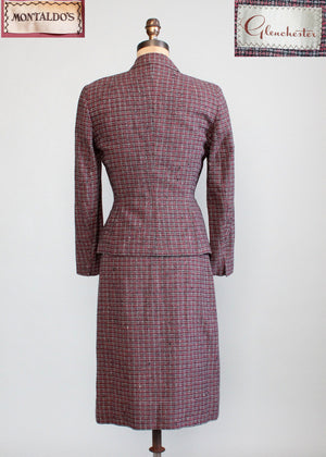 Vintage Late 1940s Glenchester Tweed Nipped Waist Suit