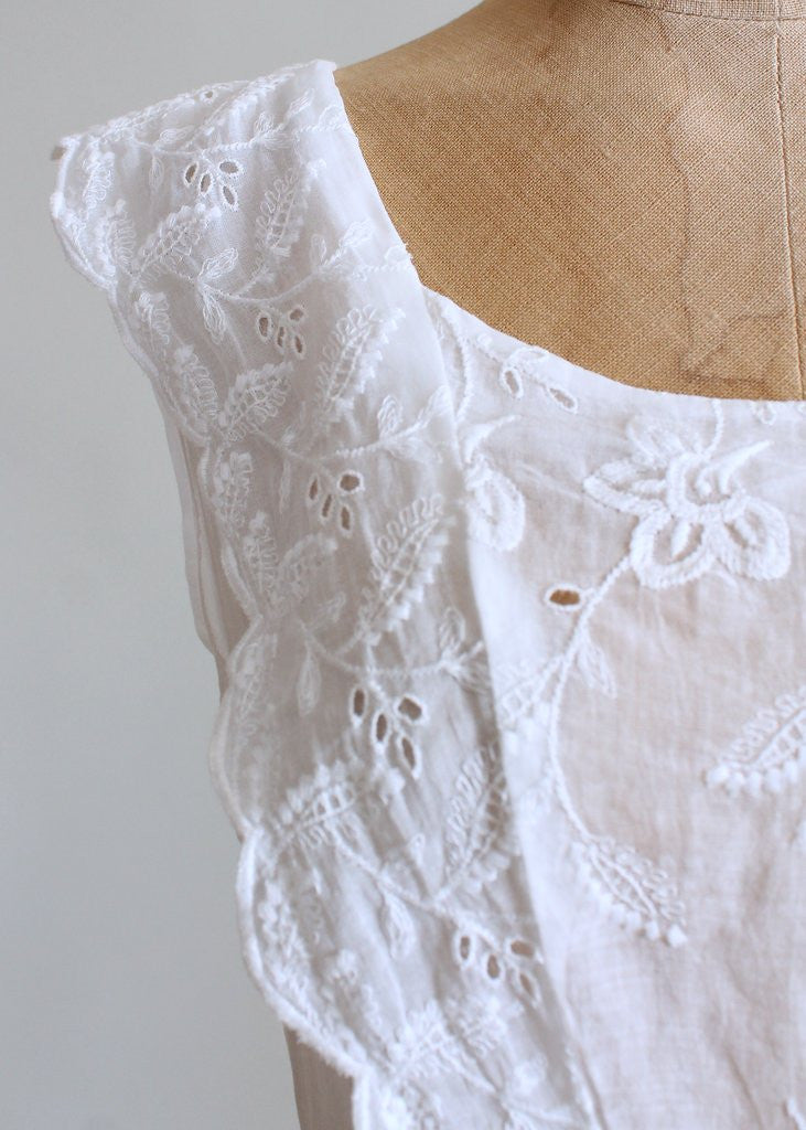 Vintage 1940s White Embroidered Organdy Pinafore Dress