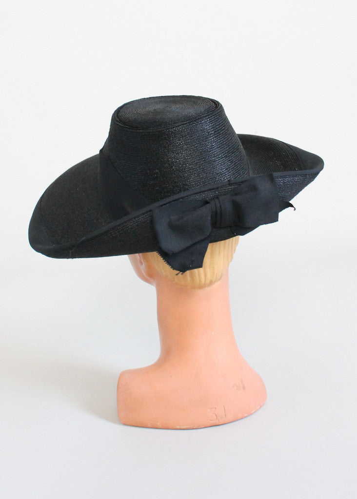 Vintage Early 1940s Wide Brim Black Straw Hat