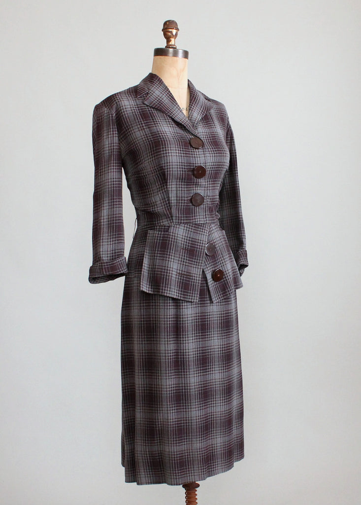 Vintage 1940s Winter Plaid Suit Dress
