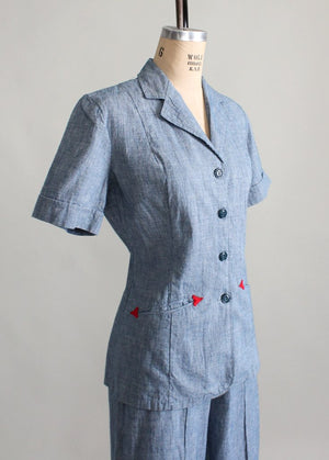 Vintage 1940s Cotton Jacket and Pants Suit