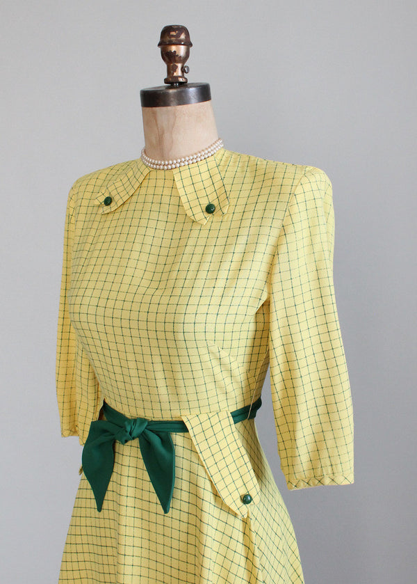 Vintage 1940s Yellow And Green Swing Dress Raleigh Vintage