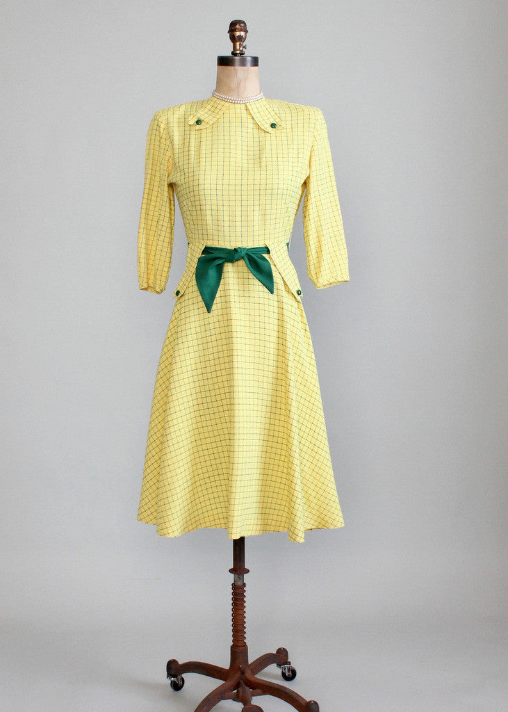 Vintage 1940s Yellow and Green Swing Dress