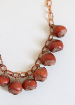 1940s hazelnut and culluloid necklace