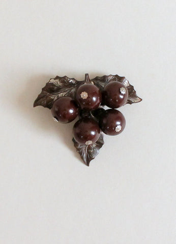 Vintage 1940s Brown Bakelite and Metal Grape Cluster Dress Clip
