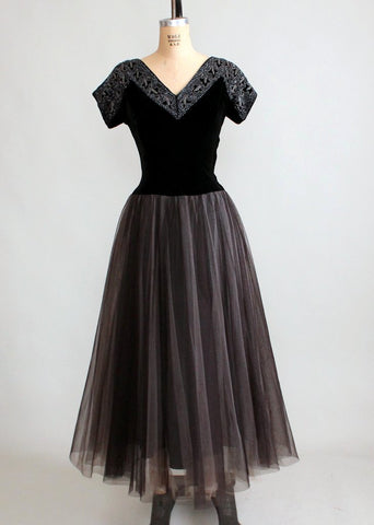 Vintage 1940s Beaded Velvet and Tulle Evening Dress