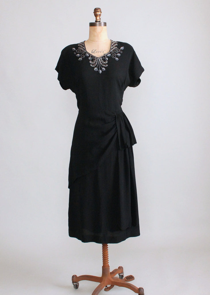 Vintage 1940s Nu-Form Black Crepe Beaded Peplum Dress