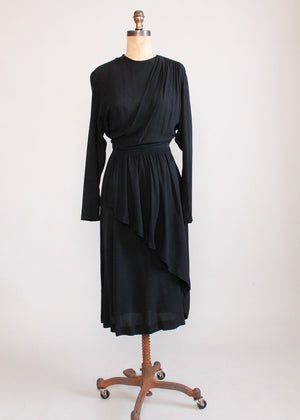 Vintage 1940s Black Crepe Draped Dress