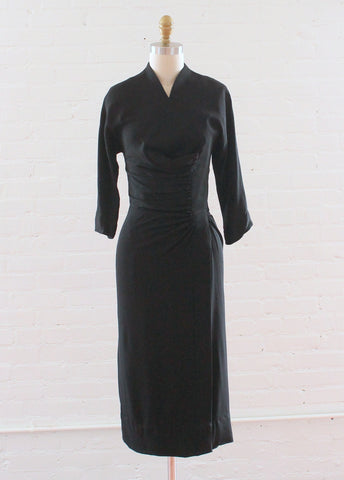 Vintage 1940s Black Gathered Side Noir Dress