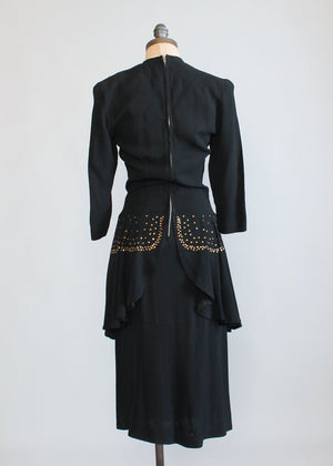 Vintage 1940s Black Crepe Studded Peplum Dress