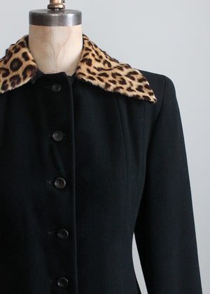 Vintage 1940s Black Wool Princess Coat with Leopard Fur Collar