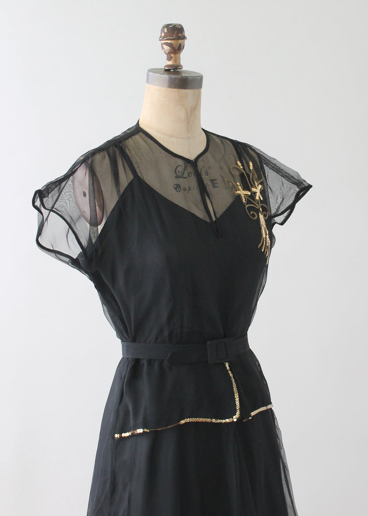 Vintage 1940s Black Sequined Evening Dress