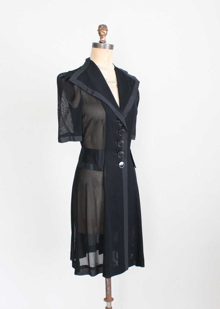 Vintage 1940s Black Sheer Mesh Swing Dress