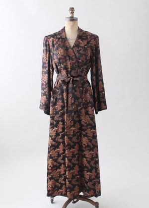 Vintage 1940s Asian Silk Long Robe