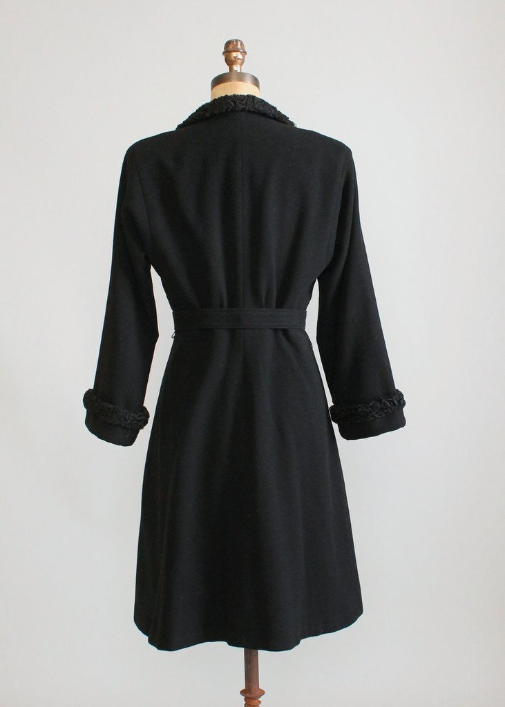 Vintage Early 1940s Black Wool Princess Coat